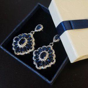 Swarovski Blue Crystal Floral Chandelier Earrings